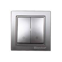 Выключатель двойной проходной Серебряный камень Enzo IP22 ElectroHouse EH-2187-ST