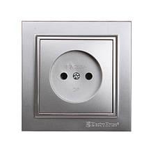 Розетка без заземления Серебряный камень Enzo 16A IP22 ElectroHouse EH-2108-ST