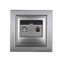 Розетка телефонная Серебряный камень Enzo IP22 ElectroHouse EH-2112-ST