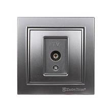 Розетка телевизионная Серебряный камень Enzo IP22 ElectroHouse EH-2113-ST