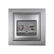 Розетка компьютерная Серебряный камень Enzo IP22 ElectroHouse EH-2114-ST