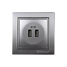 Розетка USB (2 порта) Серебряный камень Enzo 2A IP22 ElectroHouse EH-5320-ST