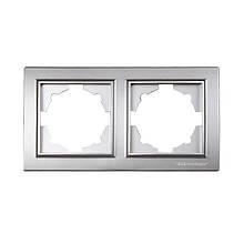 Рамка двойная серебро Enzo ElectroHouse EH-2201-ST