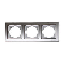 Рамка тройная серебро Enzo ElectroHouse EH-2202-ST