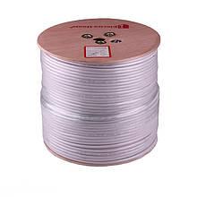 Телевізійний (коаксіальний) кабель RG-6U Cu 1,02 Cu білий ПВХ ElectroHouse EH-11