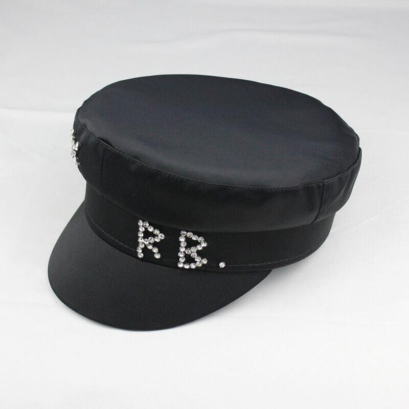 Женский картуз, кепи, фуражка RB атласный декорированный черный