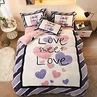 Велюровый Комплект постельного белья  Валентинка сердечки  евро размер Сиренево - розовый цвет