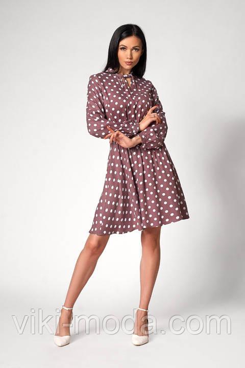 Легке плаття в горошок з довгим рукавом. Розміри: 48,50