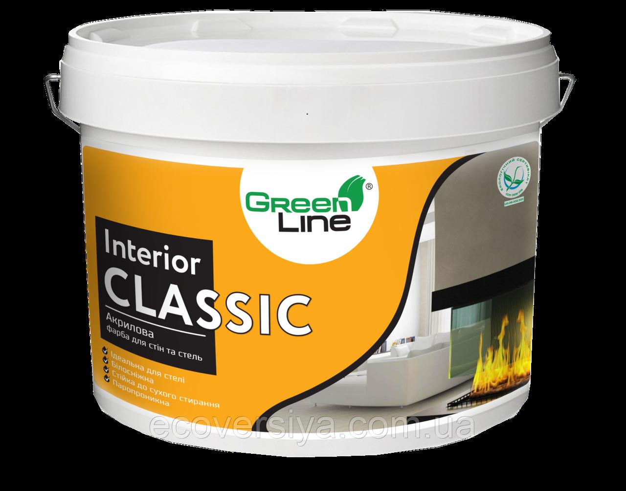 Акриловая краска для стен и потолков Interior Classik Green Line
