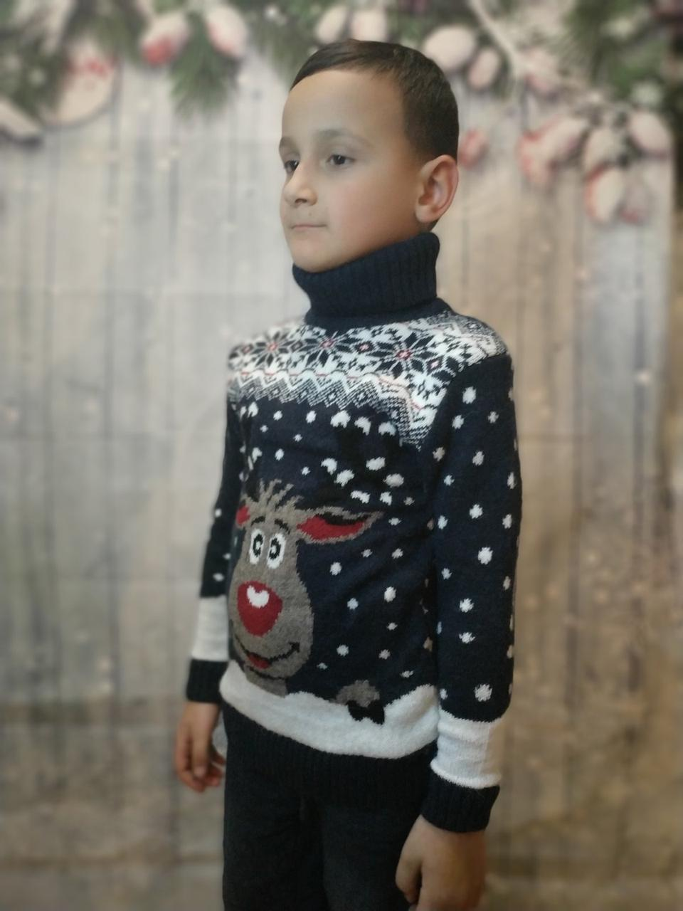 Вязаный синий свитер с оленем для мальчиков 6-11 лет
