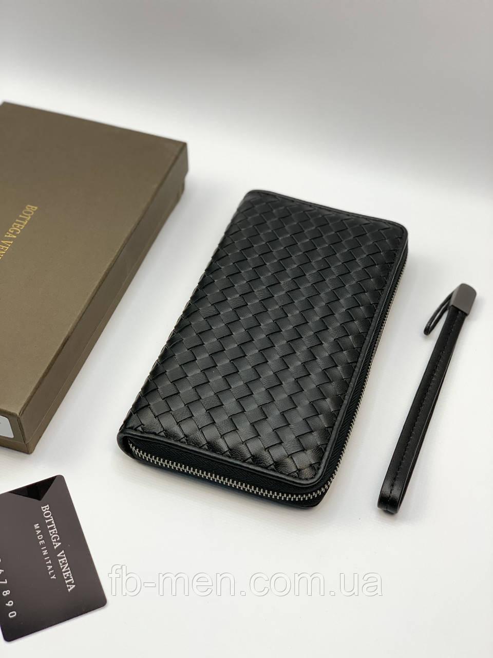 Кошелек Bottega Veneta Органайзер Боттега Венета черный кожаный Двойной кошелек Боттега Венета