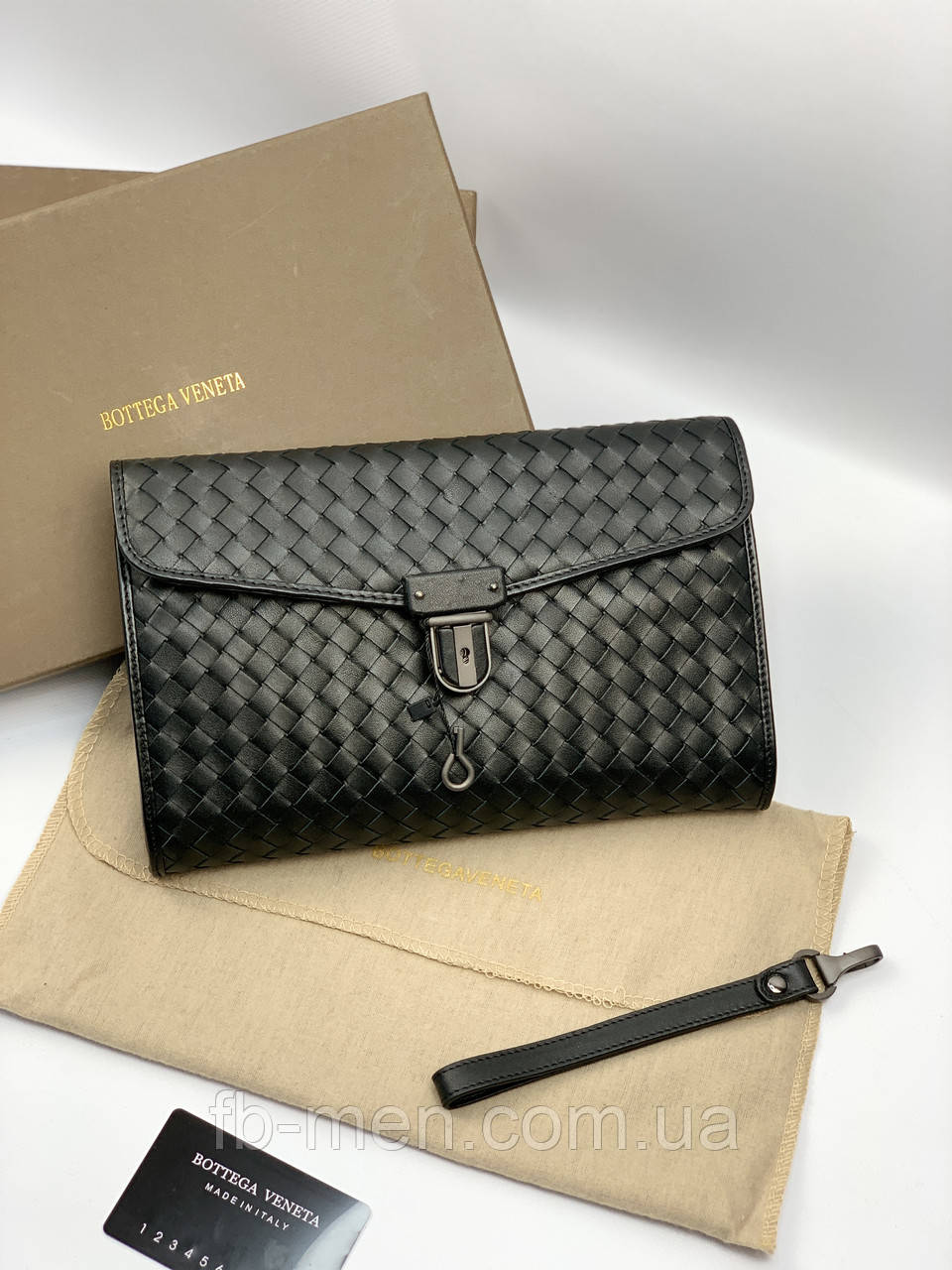Папка под документы Bottega Veneta мужская женская Клатч кожаный Боттега Венета Барсетка черная Bottega Veneta
