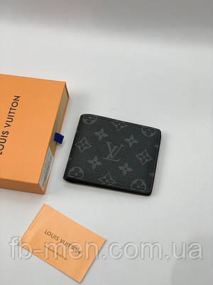 Портмоне Louis Vuitton серый монограмм   Кожаный кошелек Луи Виттон маленький   Портмоне в стиле Lous Vuitton