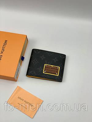 Кожаный бумажник Louis Vuitton серый | Маленький кошелек в стиле Louis Vuitton | Карманное портмоне Луи Виттон
