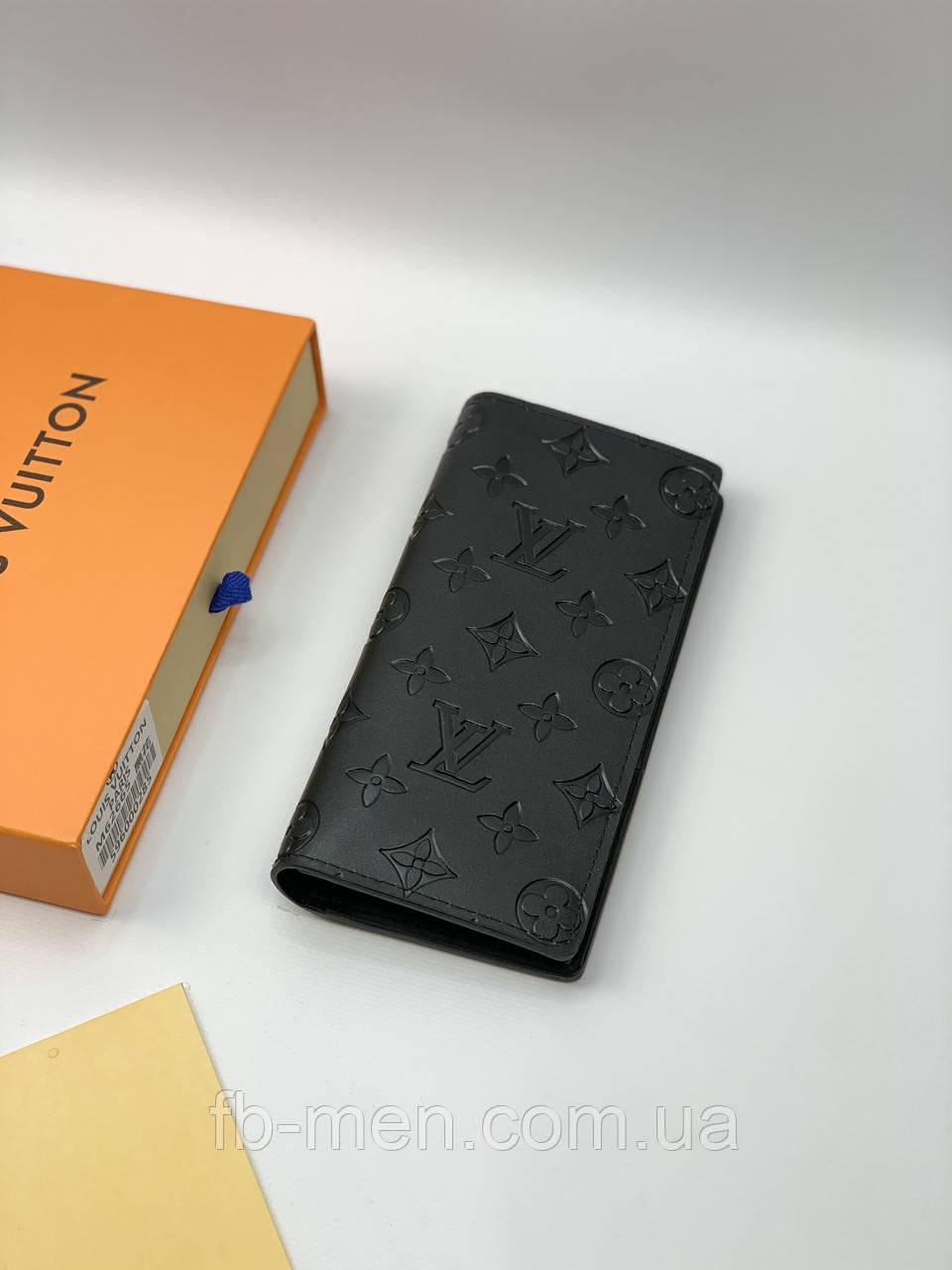 Бумажник Louis Vuitton черный принт монограмм | Кошелек без змейки Луи Виттон | Кошелек Луи Виттон мужской