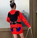 Свитер теплый объемный оверсайз 42-46 красный молодежный с ярким рисунком Микки Маус, фото 2