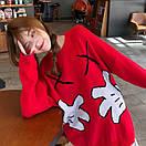 Свитер теплый объемный оверсайз 42-46 красный молодежный с ярким рисунком Микки Маус, фото 3