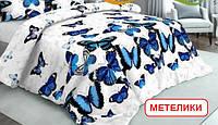 Полуторний підодіяльник з бязі - Метелики