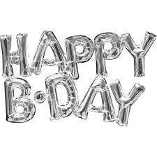 """Гірлянда фольгована срібло """"З днем народження"""", """"Happy B-day"""""""