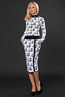 Деловой костюм-двойка  юбка карандаш с блузой воротник стойка