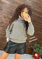 Шикарный теплый вязанный свитер с воротником