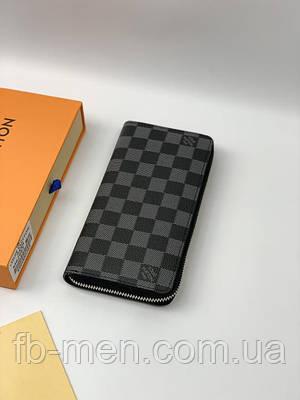Кошелек Louis Vuitton серая шашка на молнии | Бумажник портмоне на молнии Луи Виттон серого цвета кожаный