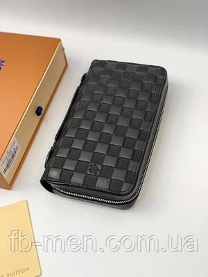Кошелек Louis Vuitton на два отделения черная шашка с ручкой | Бумажник-клатч большой Луи Виттон кожа мужской
