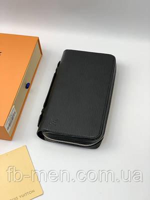 Бумажник Louis Vuitton черного цвета с боковой ручкой на два отделения|Луи Виттон барсетка большая кожаная