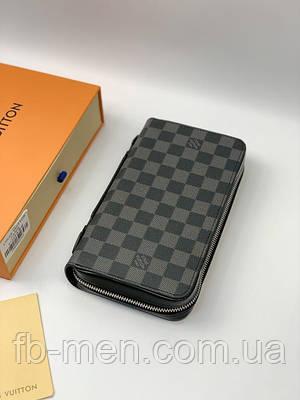 Бумажник Louis Vuitton серого цвета с ручкой на два отделения|Вместительный кошелек Луи Виттон серая шашка