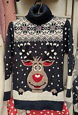 Вязаный синий свитер с оленем для мальчиков 6-11 лет, фото 3
