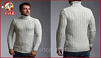 Свитер мужской теплый с подворотом горла Светло-серый осень/зима. Мужской теплый вязаный свитер под горло