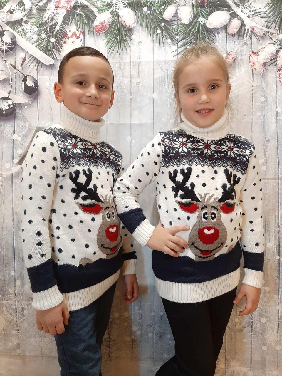 Вязаный белый свитер с оленем для девочек 6-11 лет