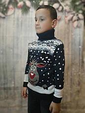 Вязаный белый свитер с оленем для девочек 6-11 лет, фото 3