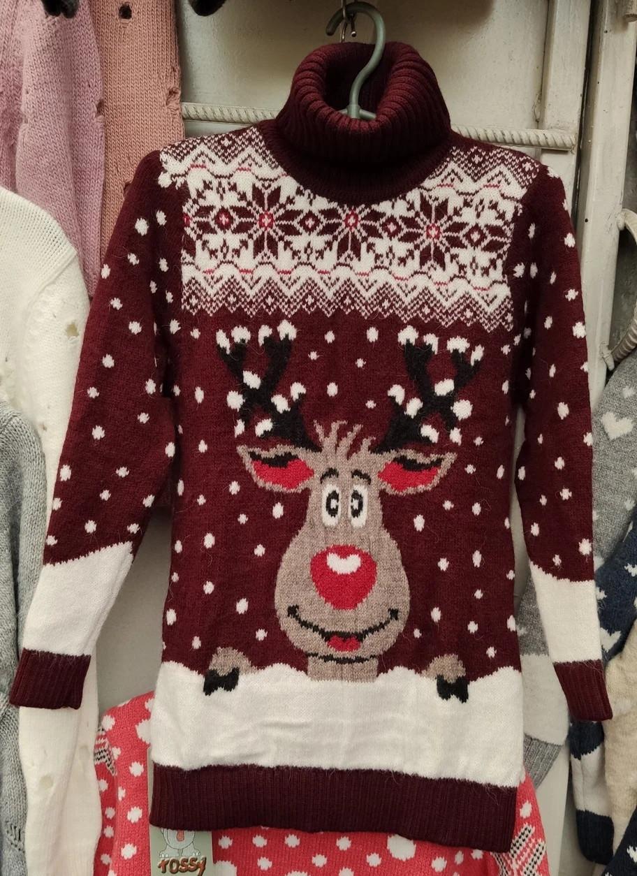 Вязаный бордо свитер с оленем для мальчиков
