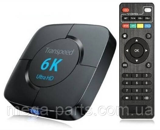 Transpeed 6K 4/32 GB Smart TV Box 4K 3D Allwinner H6 Quad-Core Cortex-A53 1.8GHz, Android 9.0 Медиаплеер WiFi