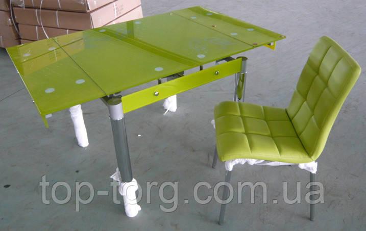Стол ТВ-21 салатовый +хром 800х650мм, 1300х650мм раскладной