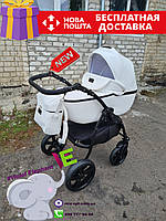 Детская коляска 2 в 1 Classik (Классик) Victoria Gold эко кожа белый