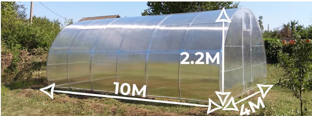 Теплиця «Веган» 4×10 з оцинкованої квадратної труби з полікарбонатом Soton 4 мм