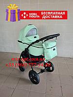 Детская коляска 2 в 1 Classik ( Классик) Victoria Gold эко кожа мятный