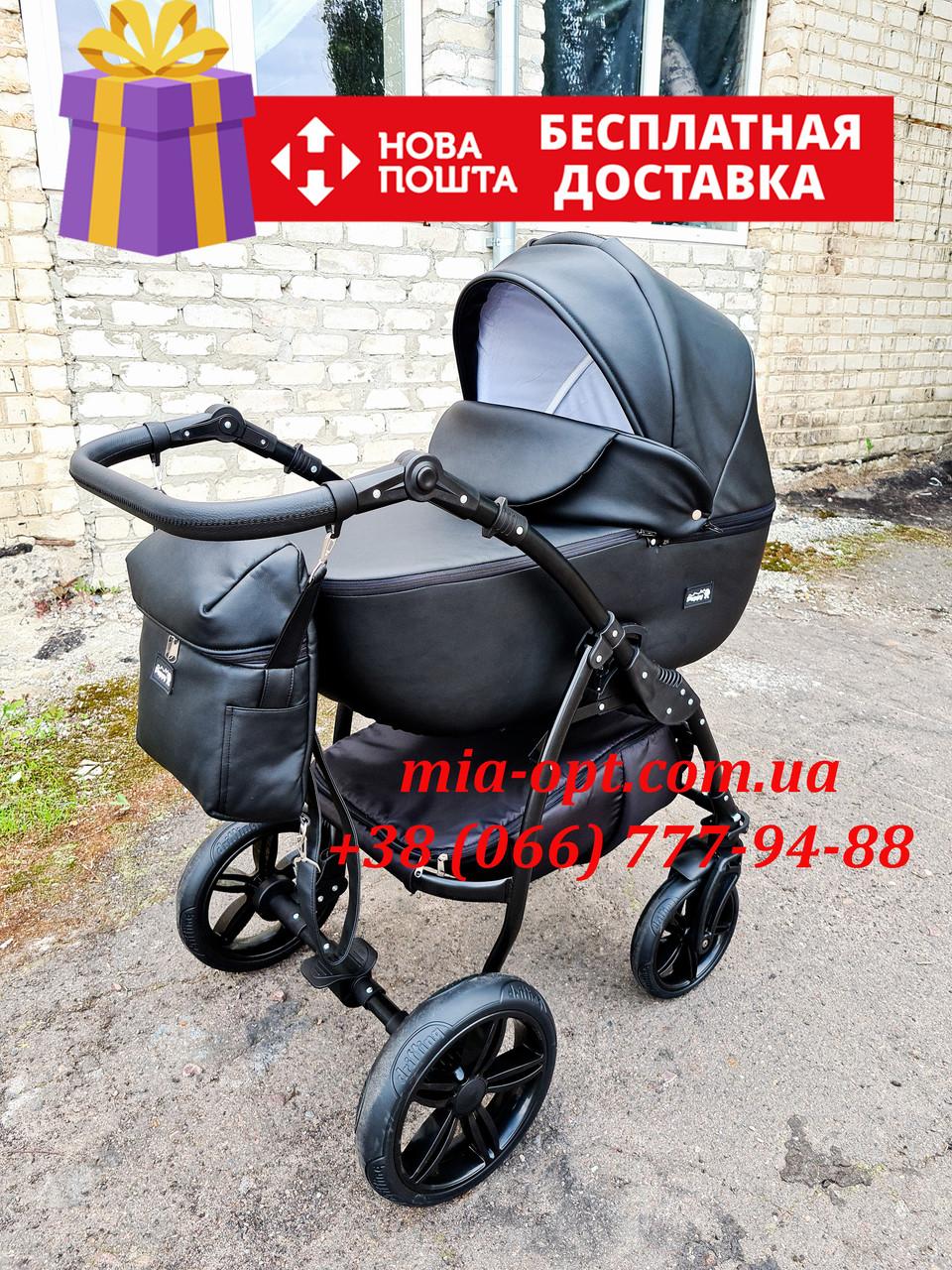 Детская коляска 2 в 1 Classik ( Классик) Victoria Gold эко кожа черный