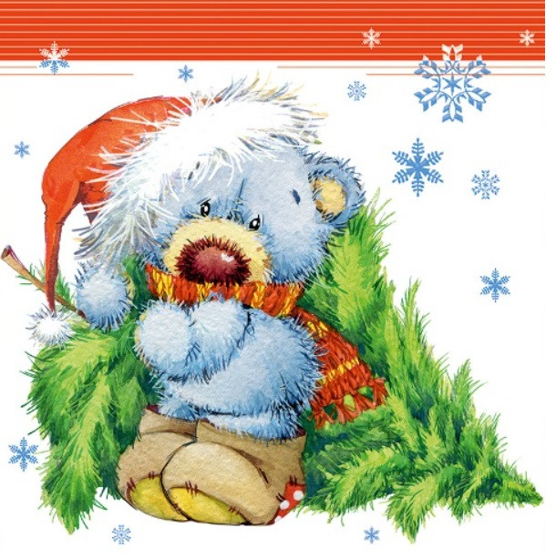 Новогодний подарочный бумажный пакет КВАДРАТ 23*24*10 см Сова