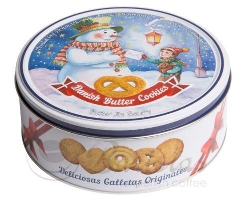 Печенье сливочное Bisquini Danish Butter Cookies Снеговик в ж/б 200 г Дания