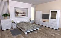 Белая мебель для спальни Стиль Компанит двух-спальный модульный гарнитур лдсп