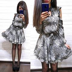 Платье с открытыми плечами с леопардовым принтом софт