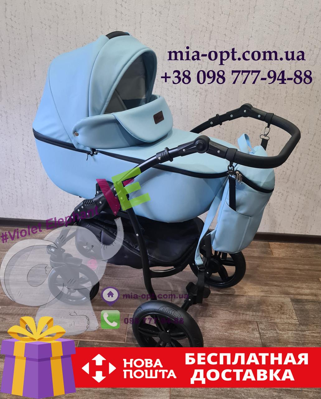Детская коляска 2 в 1 Classik (Классик) Victoria Gold эко кожа голубой