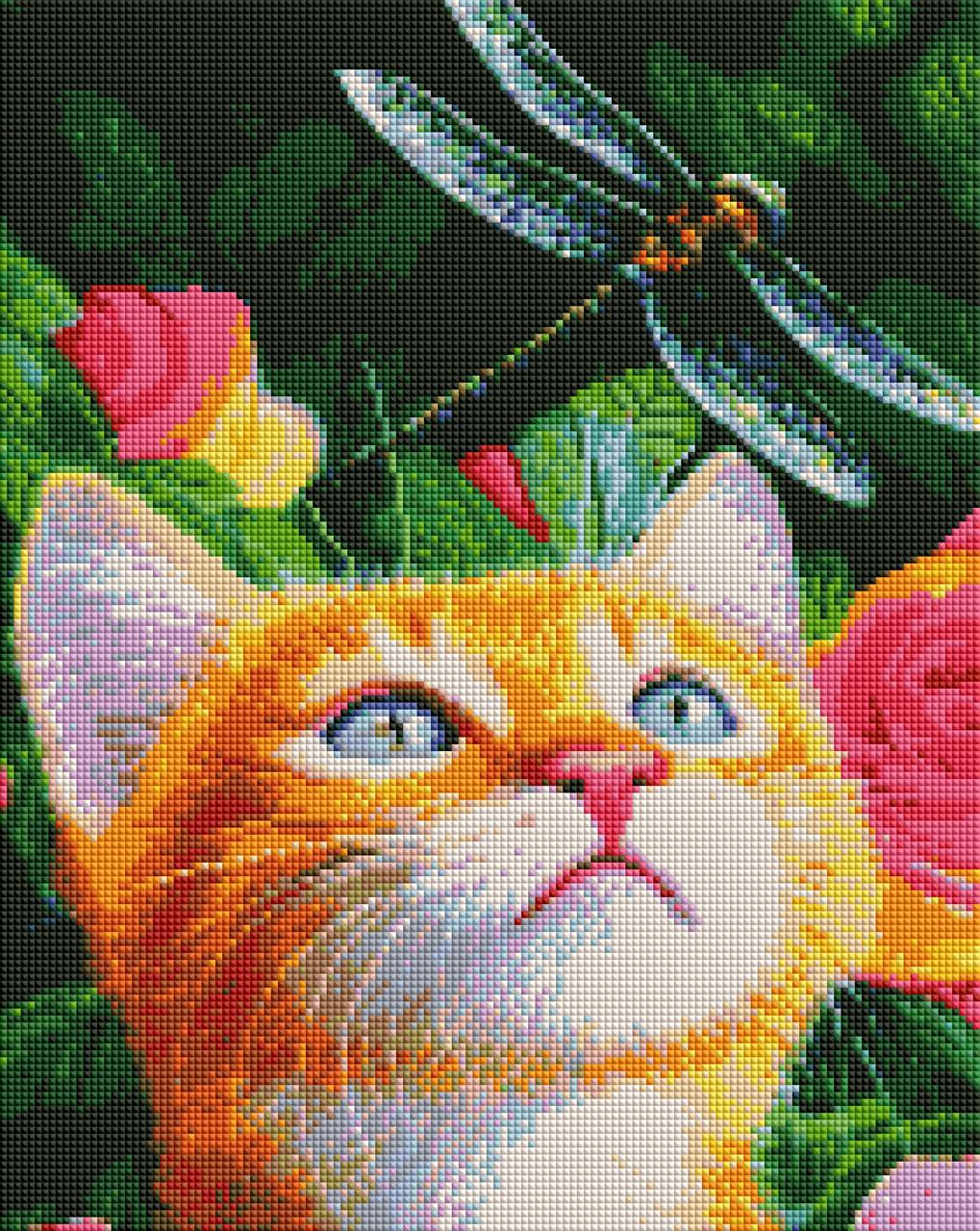 Алмазная мозайка ArtStory Кот и стрекоза 40*50см в коробке
