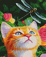 Алмазная мозайка ArtStory Кот и стрекоза 40*50см в коробке, фото 1
