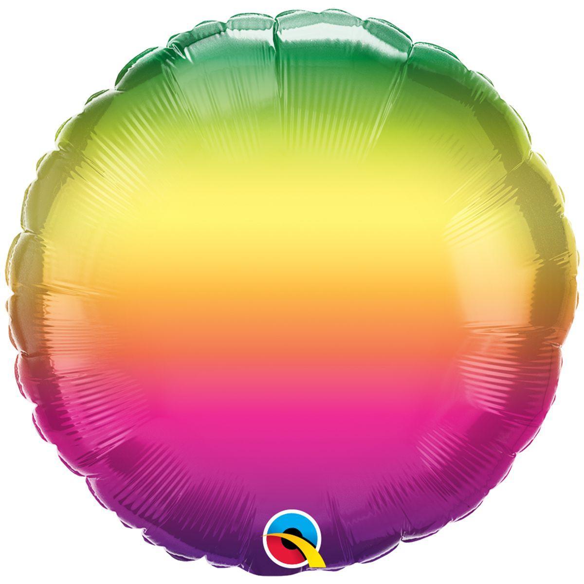 "Кулька 18"" круг фольгована, омбре райдуга веселка УП шт."