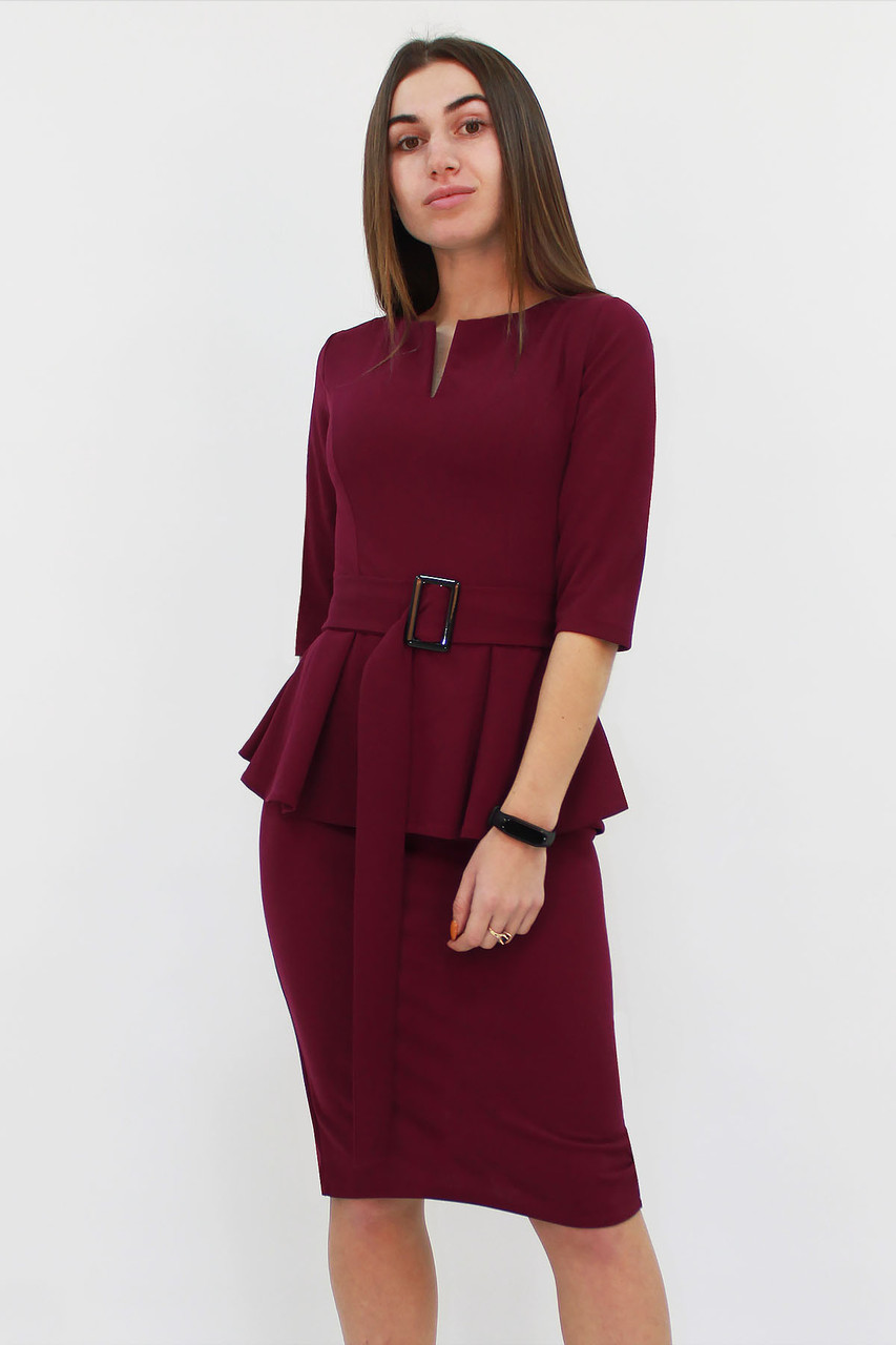 Класичне жіноче плаття з баскою Venera, марсала