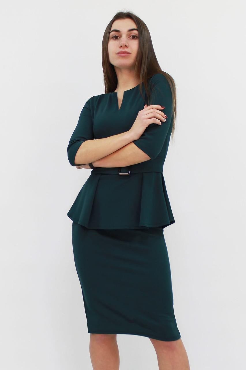Класичне жіноче плаття з баскою Venera, зелений